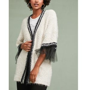 Amadi Anthropologie Tulle-Trimmed Cardigan new